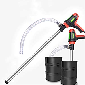 ZXWCYJ Food Grade Electric Drum Pump, Fuel Transfer Pump for Gasoline, Food Oil, with Suction Tube & Discharge Hose,Stainless Steel+3m Hose