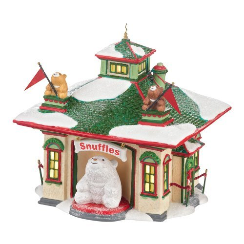 Department 56 North Pole Village Snuffles Luv-A-Hug Center Lit House, 5.98 inch