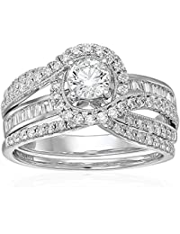 14k White Gold Round & Baguette Diamond Swirl Bypass Bridal Milgrain Wedding Ring Set (1 cttw, I Color, I2 Clarity)