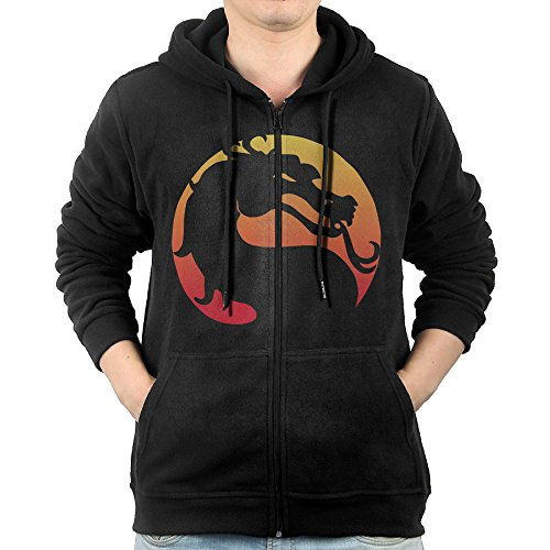 Men Chalk Logo Mortal Kombat Video Game Franchise Fashion Zip Hoodie