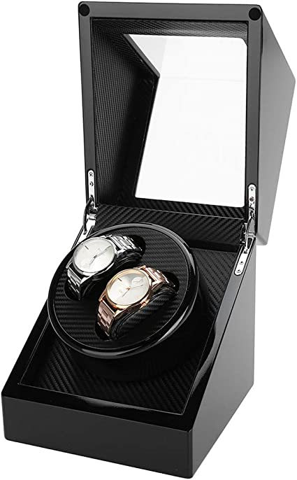 2 Enrollador automático de relojes, caja de vitrinas de almacenamiento de relojes con funciones de temporizador de 2 modos, carcasa de madera, cuero de PU, tapa de vidrio(Black): Amazon.es: Belleza