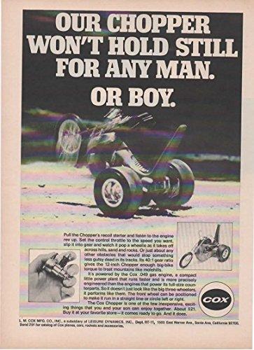 Magazine Print Ad: 1971 Cox Chopper, 0.049 Gas Engine,