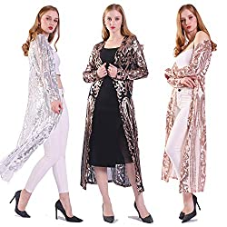 Sequin Ankle Length Cardigan Open Front Coat