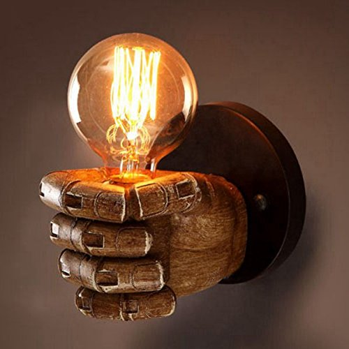 TOOGOO Creative right hand fist resin wall lamp top industrial wind decorative antique wall lamp with G80 round light bulb