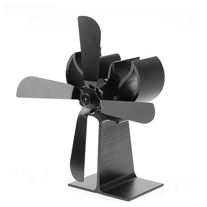 Ventilador con calefacción de estufa de leña, Goldenbridge Ventilador con chimenea potente con 4 cuchillas