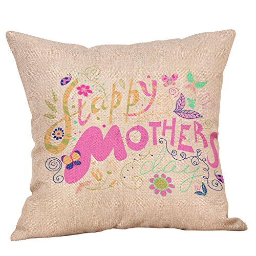 Littay Pillowcase 18inch x 18inch,Happy Mothers' Day Pillow Cases Sofa Cushion Cover Home Decor Pillow Case ()