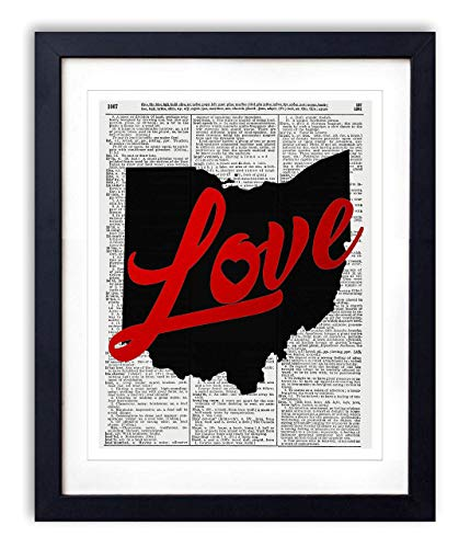 - Ohio Love Red Foil Stamped Art Print - Vintage Dictionary Reproduction Art Print