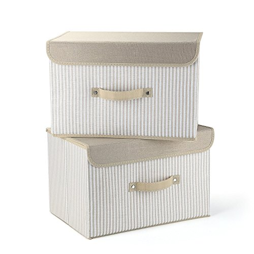 HuoGuo Brand Storage Bins,life Set of Two Foldable Storage Box with Lids and Handles Storage Basket Storage Needs Containers Organizer(Cream) (Rattan File Cabinet)