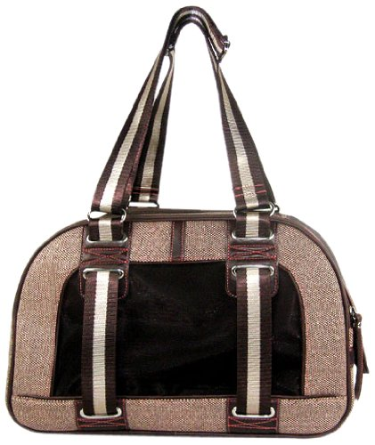 Red & Brown Canvas Pet Carrier With Brown Faux Leather by Backbone