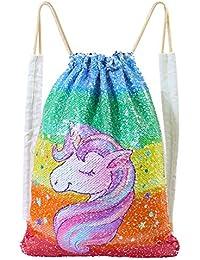 Unicorn Mermaid Sequin Bag Reversible Sequins Drawstring Backpacks