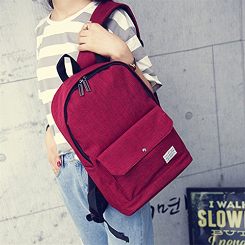 Clode® Mochila chica escuela de mujer Casual moda bandolera mochila bolsos de viaje Rojo