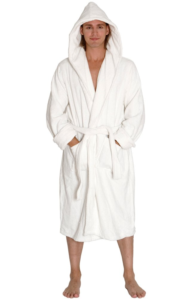 Alexander Del Rossa Mens Turkish Terry Cloth Robe, Thick Hooded Bathrobe, Large XL White (A0105WHTXL)