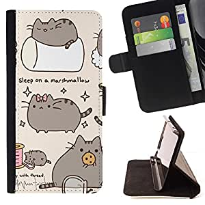 For Samsung Galaxy Note 4 IV Pussy Cat Grey Sleep Marshmallow Play Beautiful Print Wallet Leather Case Cover With Credit Card Slots And Stand Function