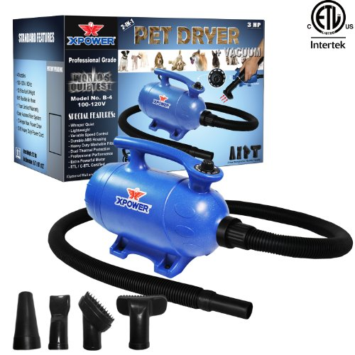Xpower ''B-4'' 3 HP Variable Speed 2-in-1 Pet Dryer and Vacuum by XPOWER