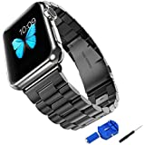 Apple Watch Band, Solid Stainless Steel Metal Apple iWatch Strap Unique Polishing Replacement with Durable Folding Clasp connector+watch Band Remover Adjuster (42mm Space Gray)