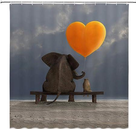 QAQ Cortinas De Baño De Elefante Animal Cortina De Ducha De Impresión 3D Mamparas De Baño Lavables De Poliéster Impermeable Decoración para El Hogar-180X200Cm: Amazon.es: Hogar