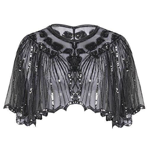 Flapper Girl Accessories (PrettyGuide Women's 1920s Shawl Beaded Sequin Deco Cape Bolero Flapper Cover Up)