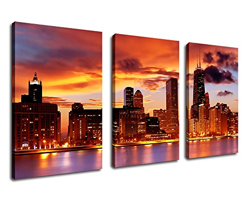 Canvas Prints Sunset Chicago Skyline product image