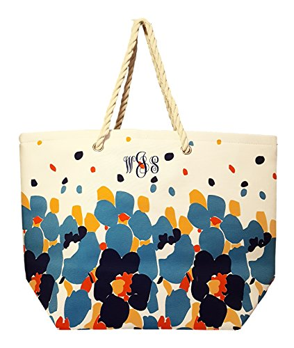 Floral Beach Bag (Floral Design Beach Bag by Karen Keith - Personalization Available (Embroidered Monogram - Blue))