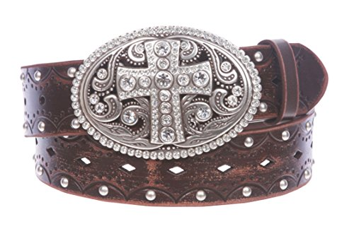 Studded Perforated Embossed Leather Belt With Rhinestone Bling Cross Buckle Size: M/L - 36 Color Brown