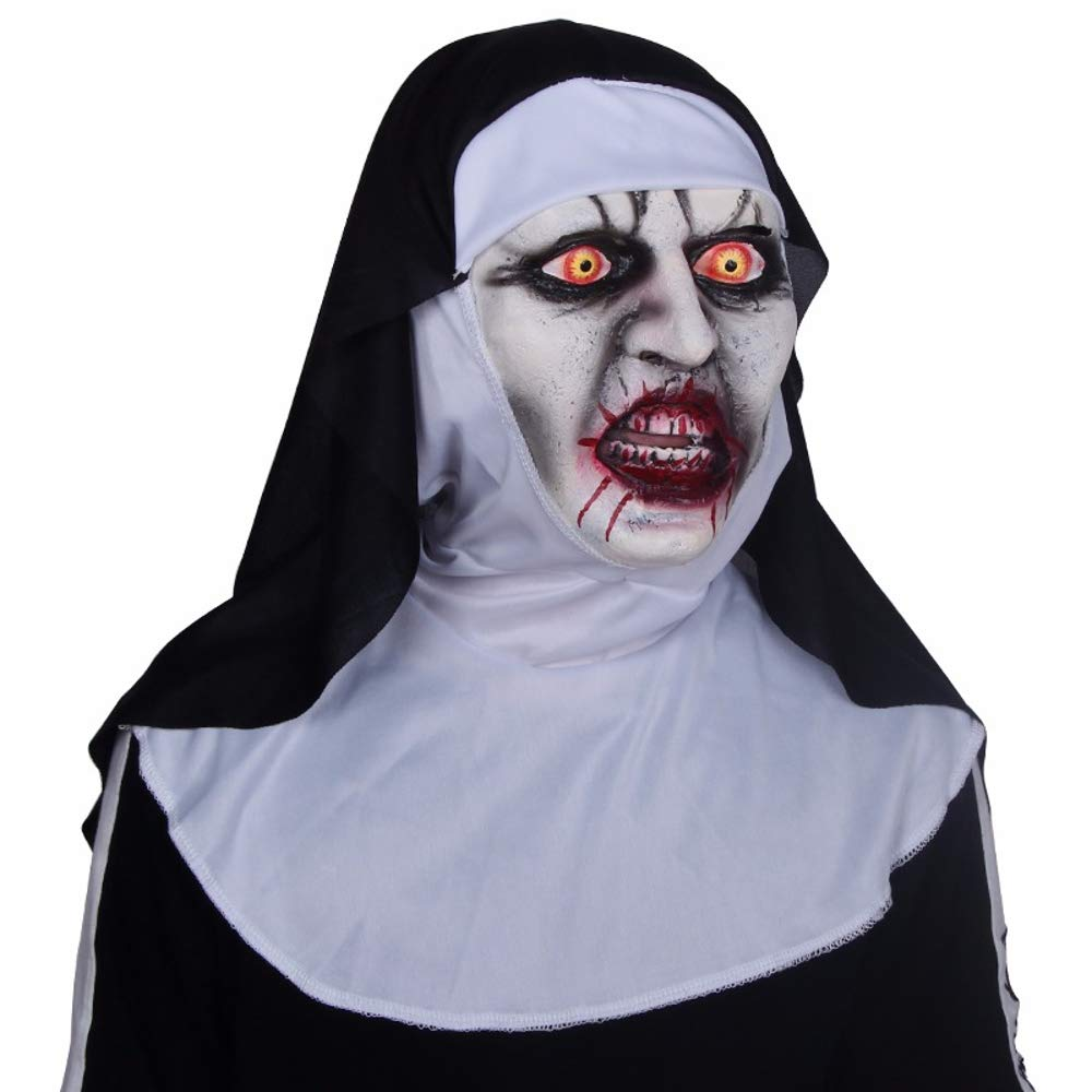 Sprint4Deals Horror Scary Nun Mask - Cosplay Valak Scary Latex Masks with Headscarf Full Face Helmet for Parties