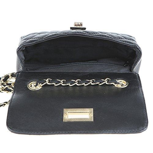 Chicca Borse Clutch Mujer Bolsa de hombro embrague en cuero genuino acolchado Made in Italy 19x13x6 Cm Negro