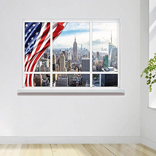 """Price comparison product image WJkuku 3D Self-adhesive Removable Break Through the Wall Vinyl Wall Sticker / Mural Art Decals Decorator Window Famous Building Scenery Series (19.7"""" X 27.6"""") (The Skyscraper)"""
