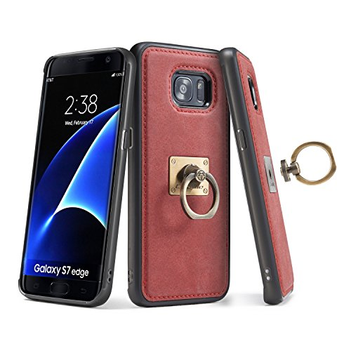 Funda Galaxy S7 Edge Anillo extraíble,SainCat Funda de cuero sintético tipo billetera con correa de cordón de Suave PU Carcasa Con Tapa y Cartera Ranuras para Tarjetas y Billetera Funda de Flip Ranura Roja
