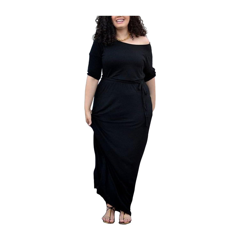 Janecrafrs Damen Übergröße Einfarbig Figurbetontes Schaufel Hals Kurzarm Maxi Kleid strecken