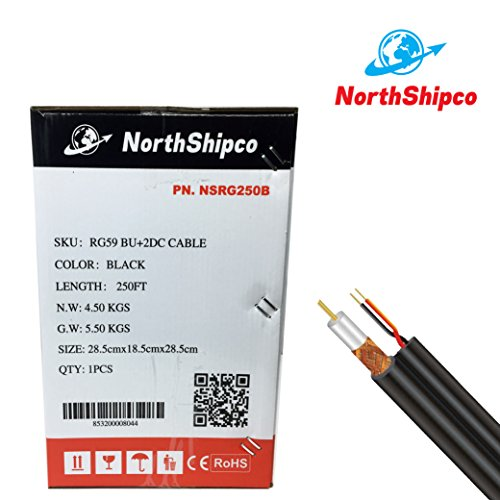 Coaxial RG59 Siamese Cable 250ft CCTV 20AWG 18//2 Security Camera Black