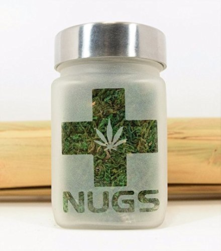 Medical Marijuana Stash Jar with Pot Leaf - Etched Glass Stash Jars - Weed Accessories, Stoner Gifts and 420 Cannabis Gift Ideas - Stoner Accessories by Twisted420Glass