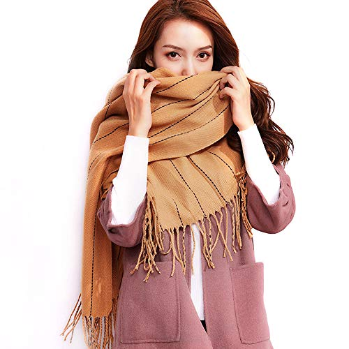 1Pcs Women Men Fashion Long Tassel Shawl Winter Warm Large Stripe Cashmere Scarf (white/pink/black/gray/red/brown)