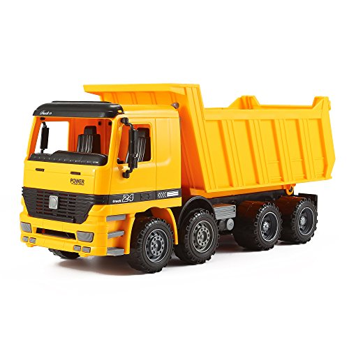 John Deere Dumping Trailer (Friction Powered Tipper Tip Up Dump Truck Push and Go Inertia Construction Toy for Boys and Girls Realistic 1:16 Scale Design)