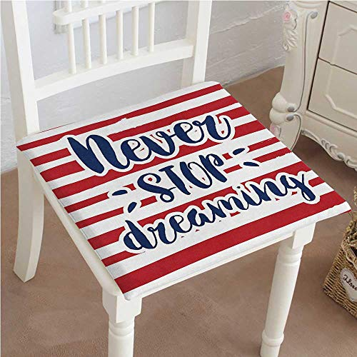 Over Woven Futon Chair Cover - Mikihome Chair Pads Classic Design Never Stop Dreaming Quote Frame Print Over Stripes USA Theme Office Decor Artsy Cotton Canvas Futon 30