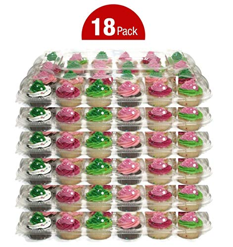 24 Compartment High Dome Cupcake Boxes | 18 Clear Plastic Cupcake Carrier - Extra Sturdy and Stackable Cupcake Holders | Disposable Container Muffin Trays | Cup Cake Packaging Transporter]()