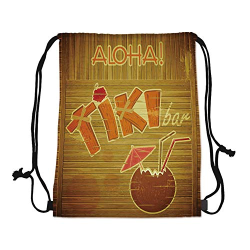 - Tiki Bar Decor Canvas Drawstring Bag,Wooden Planks Wall with Styled Tiki Bar Text Cocktail Hibiscus Aloha for Travel Shopping,One_Size