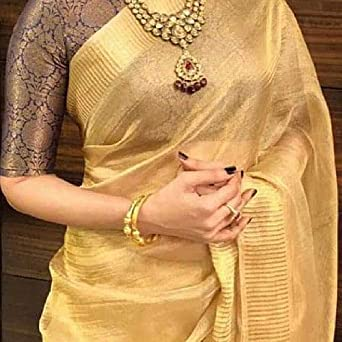 New Pakistani Indian Designer Linen Silk Saree Fancy Party Wear Ethnic Saree