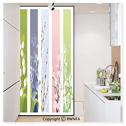 Window Film Door Sticker Glass Film Spring Flowers on Different Backgrounds Lily Valley Primrose Floral Home Decor Both Suitable for Home and Office, 17.7 x 78.7 inch,Multi