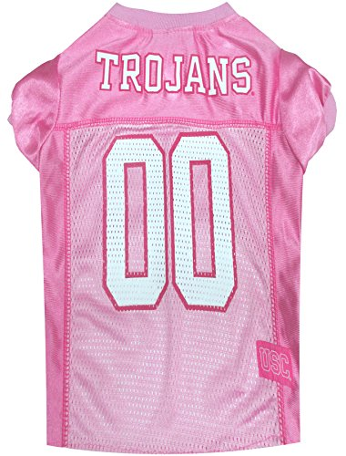 NCAA USC TROJANS Dog Pink Jersey, Large. - Pet Pink Outfit.
