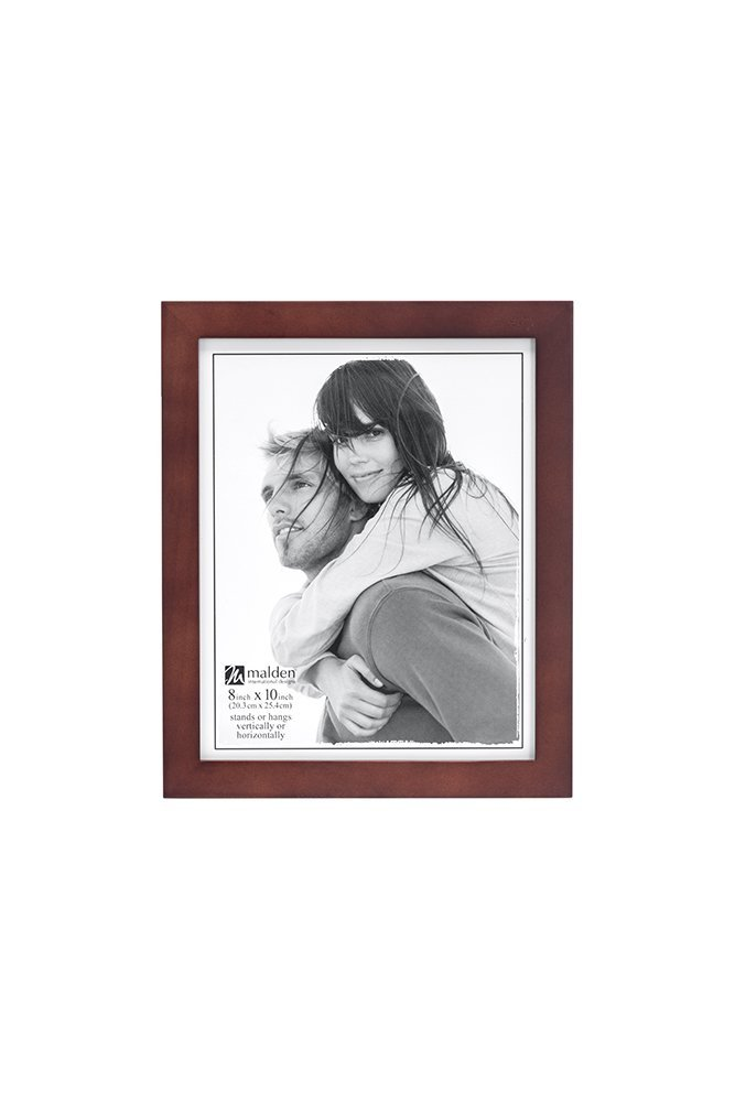 Malden Picture Frame, 8x10, Wide Wood Molding, Real Glass-Dark Walnut by Malden