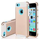 iPhone 5C Case,J.west 2 in 1 Cases Hard Plastic Shell and Soft TPU Dual Layer Hybrid [Shock Proof] Cover for Apple iPhone 5C, Gold&White