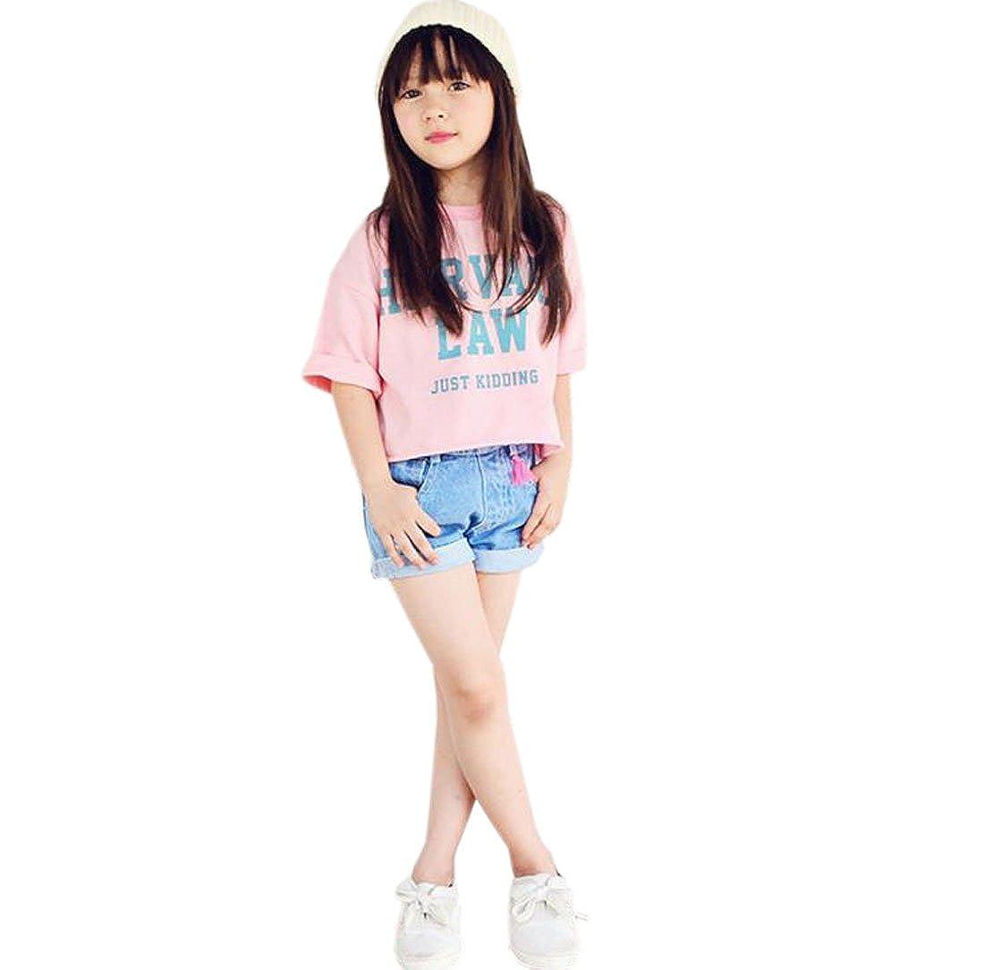 ACVIP Girls Slogan Oversized Top T-Shirt Denim Shorts Set Suit