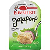 BUMBLE BEE Jalapeño Seasoned Tuna Pouch with Spoon, Wild Caught, High Protein Food, Gluten Free Food, High Protein Snacks, Canned Food, Bulk Snacks, 2.5 Ounce Pouches (Pack of 12)