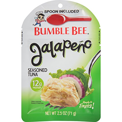 BUMBLE BEE Jalapeño Seasoned Tuna Pouch with Spoon, Wild Caught, High Protein Food, Gluten Free Food, High Protein Snacks, Canned Food, Bulk Snacks, 2.5 Ounce Pouches (Pack of 12) Review
