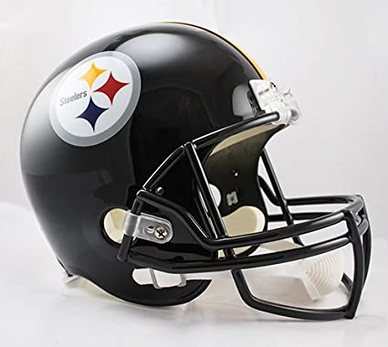 dd462a7a Image Unavailable. Image not available for. Color: Pittsburgh Steelers  Riddell Full Size Deluxe Replica Football Helmet ...