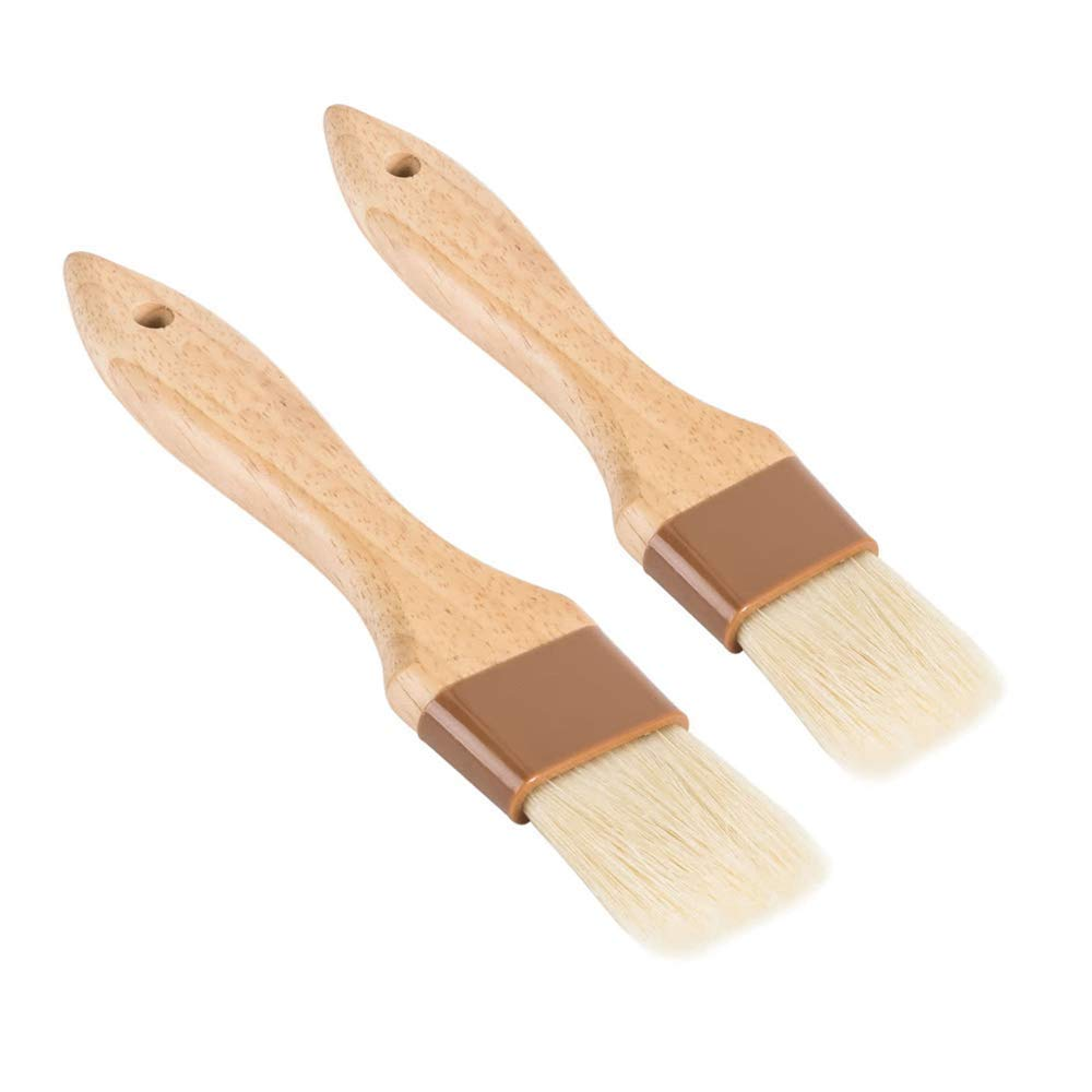 Set of 2 Pastry Brushes, 1-Inch and 1 1/2-Inch Width Natural Boar Bristle Pastry Brushes, Lacquered Hardwood Basting Brushes, Cooking / Baking Brushes GHUYE