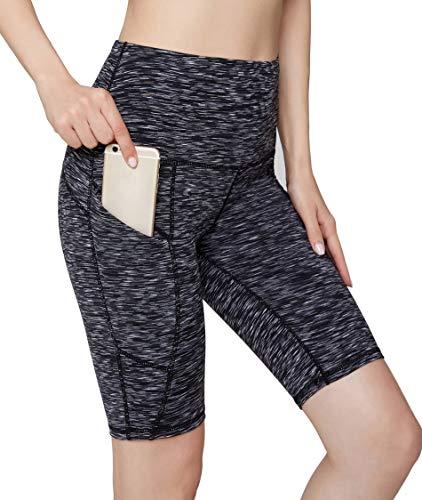 Camouflage Shorts Spandex (Oalka Women's Yoga Short Side Pockets High Waist Workout Running Shorts Space Dye Camo Black S)