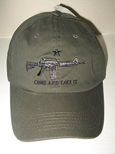 Assault Cap (Texas NRA Come And Take It M-4 Assault Rifle Olive Baseball Cap Hat)