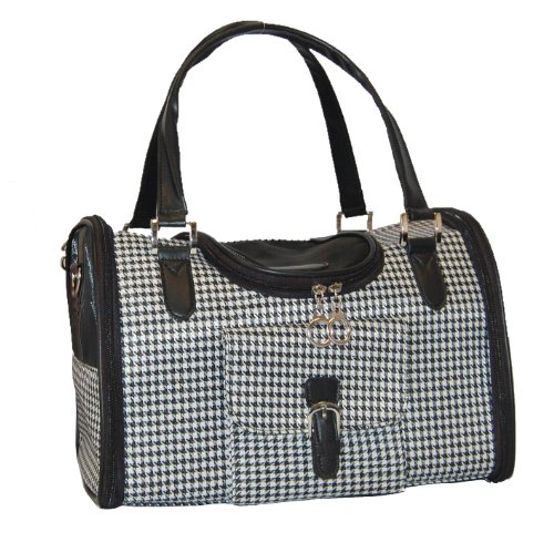 Anima Houndstooth Print Travel Carrier, 13-Inch by 7-Inch by 9-Inch, Small, My Pet Supplies