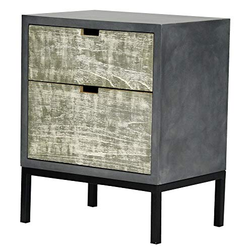 Heather Ann Creations The Nova Collection Modern Style Wooden Entry Way 2 Drawer Living Room Accent Cabinet, Grey 2 Drawer Living Room Cabinet